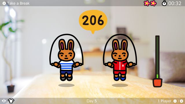 TWO rabbits jumping rope