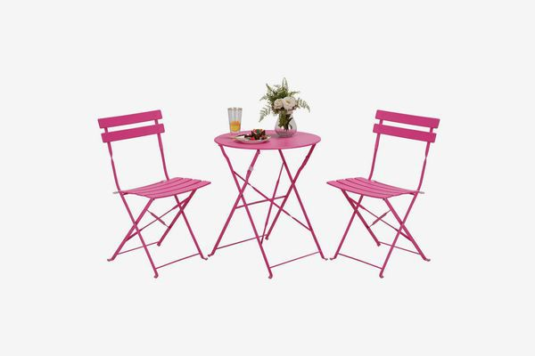 2 chairs and 1 bistro table in cheery pink color