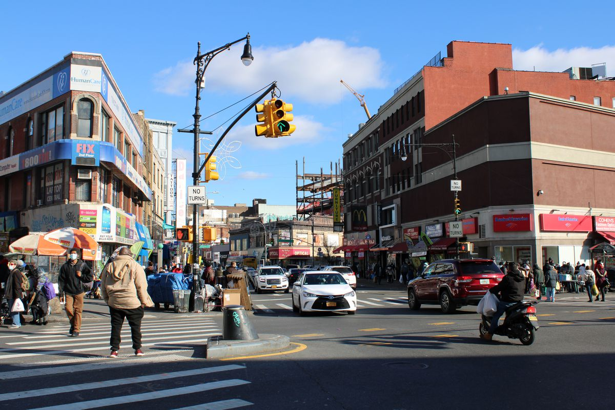 The intersection at Willis Avenue, East 149th Street and Third Ave. in The Bronx. Many residents have become involved in makeshift harm reduction efforts, keeping watch for overdoses.