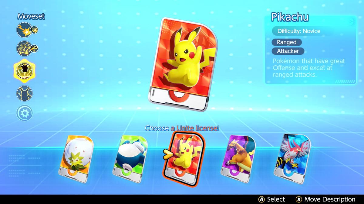 A Unite License screen in Pokémon Unite