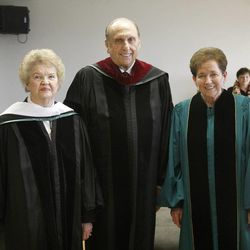 President Thomas S. Monson and his wife Sister Frances J. Monson received Honorary Degrees at Utah Valley University's Commencement ceremonies. President Monson and Sister Monson pose with Janette Hales Beckham after the ceremonies. Friday, May 1, 2009.