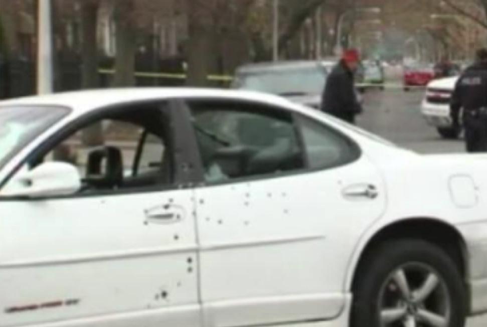 Bullet-riddled Pontiac