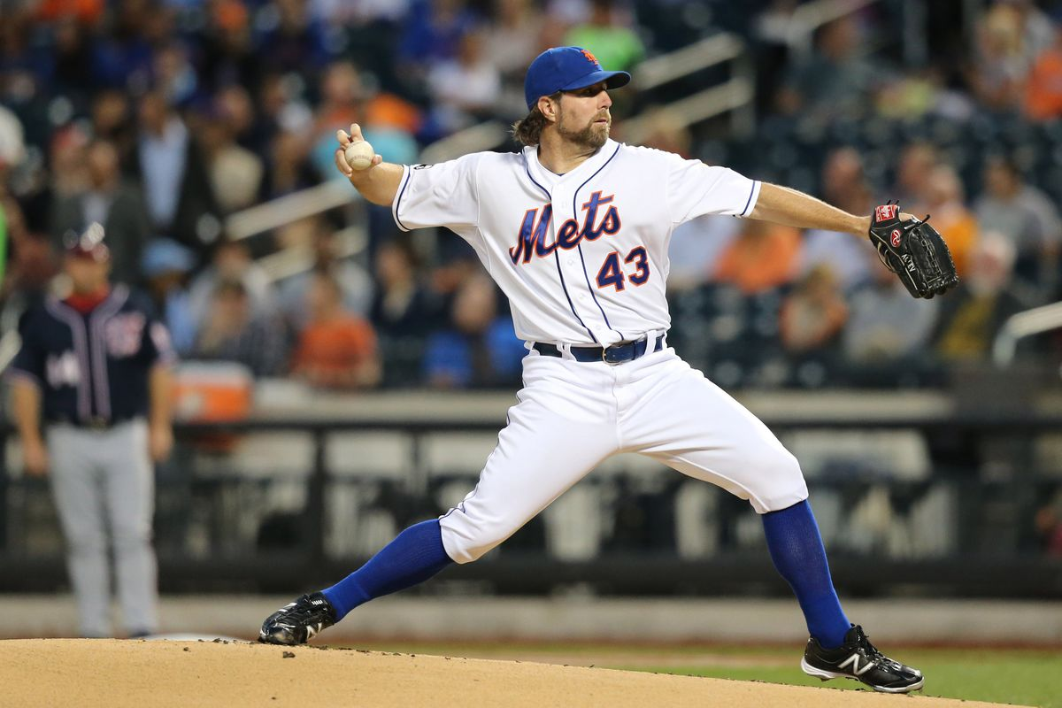 Sep 11, 2012; Flushing, NY,USA;  New York Mets starting pitcher R.A. Dickey (43) pitches during the first inning against the Washington Nationals at Citi Field.    Mandatory Credit: Anthony Gruppuso-US PRESSWIRE