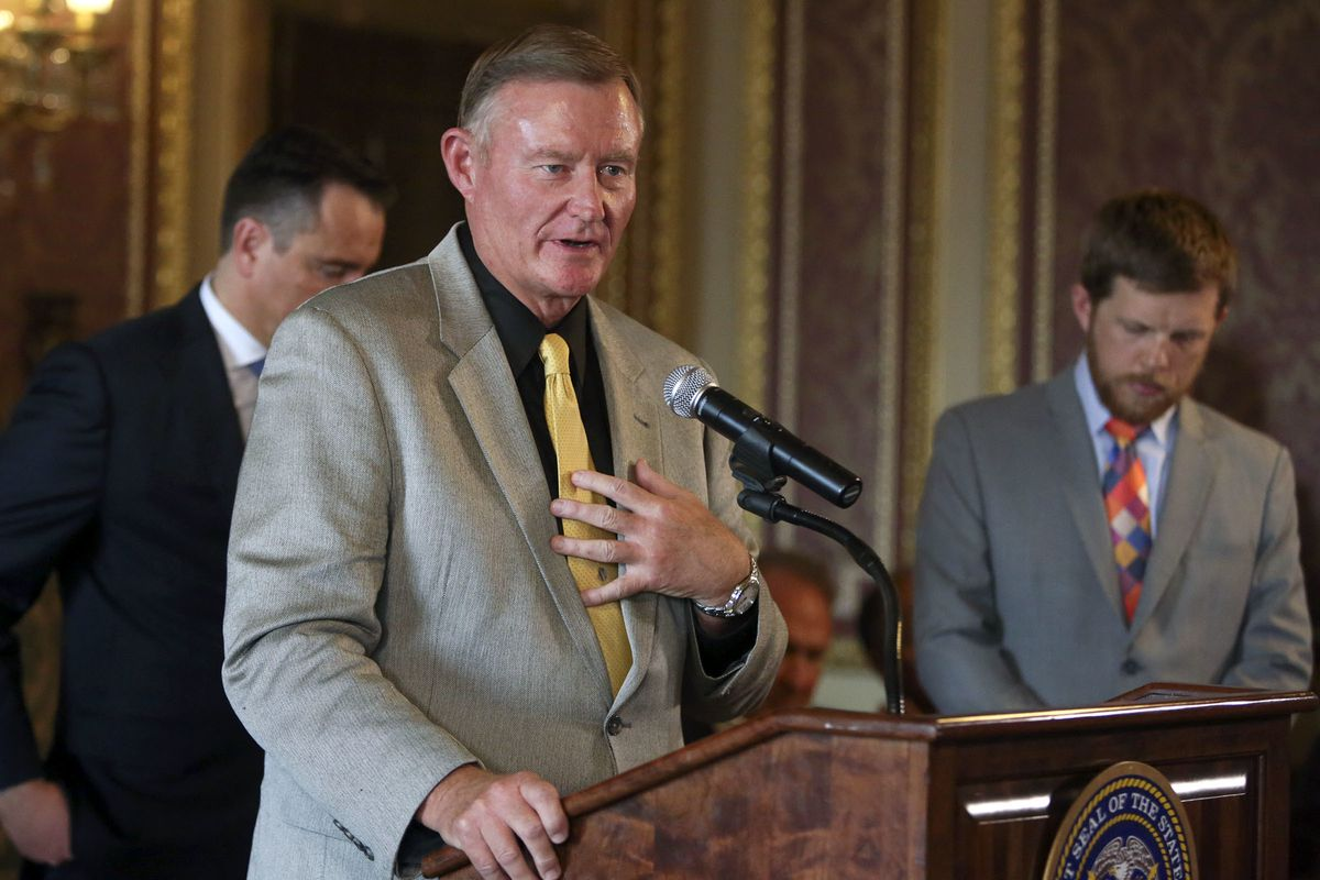 Sen. Evan Vickers, R-Cedar City, discusses an agreement between several opponents and supporters of Proposition 2, Utah's medical marijuana initiative, during a press conference at the Capitol in Salt Lake City on Thursday, Oct. 4, 2018.