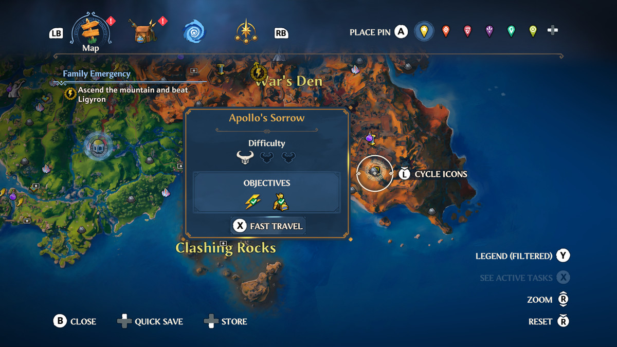 The map location of the Apollo's Sorrow Vault of Tartarosin Immortals Fenyx Rising
