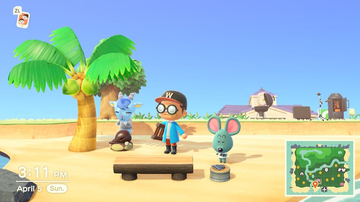 Two villagers playing instruments in Animal Crossing: New Horizons.
