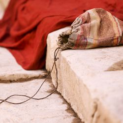 """A small prop bag sits on steps of a set during filming of a faith-based streaming series on the life of Jesus Christ called """"The Chosen"""" at The Church of Jesus Christ of Latter-day Saints' Jerusalem set in Goshen, Utah County, on Monday, Oct. 19, 2020."""