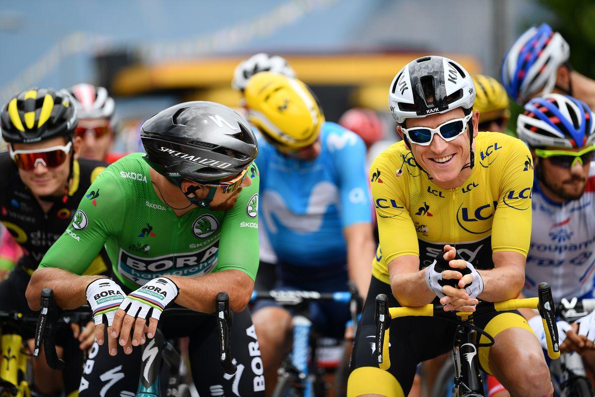 Tour de France, 2018, Valence: Sharing a joke with Peter Sagan