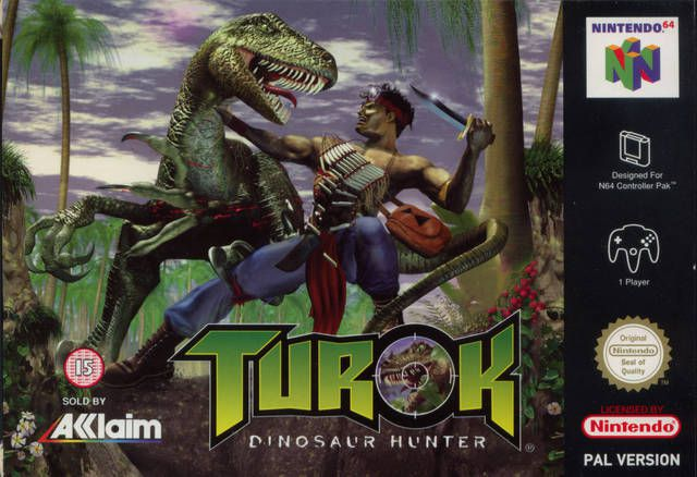 Box art for Turok: Dinosaur Hunter, featuring the titular hunter battling a theropod.