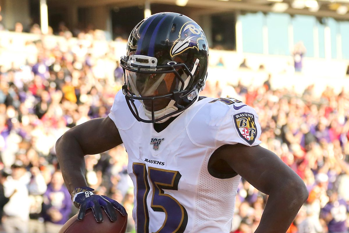 Baltimore Ravens wide receiver Marquise Brown celebrates after scoring a third quarter touchdown against the Cincinnati Bengals at Paul Brown Stadium.
