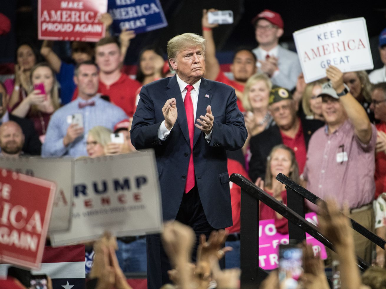 President Donald Trump at a rally on Monday in Tennessee.