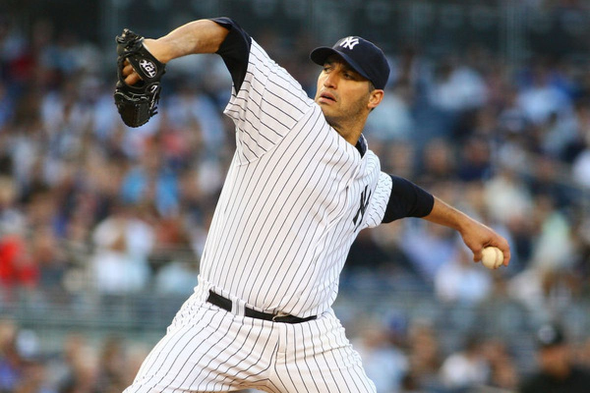 NEW YORK - JUNE 11:  Andy Pettitte #46 of the New York Yankees delivers a pitch in the second inning against the Houston Astros on June 11, 2010 in the Bronx borough of New York City.  (Photo by Mike Stobe/Getty Images)