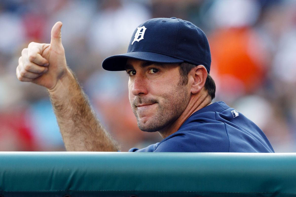June 20, 2012; Detroit, MI, USA; Detroit Tigers starting pitcher Justin Verlander (35) gives a thumps up from the dugout during the first inning against the St. Louis Cardinals at Comerica Park. Mandatory Credit: Rick Osentoski-US PRESSWIRE