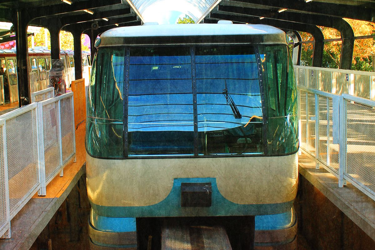 A monorail train shot from the front