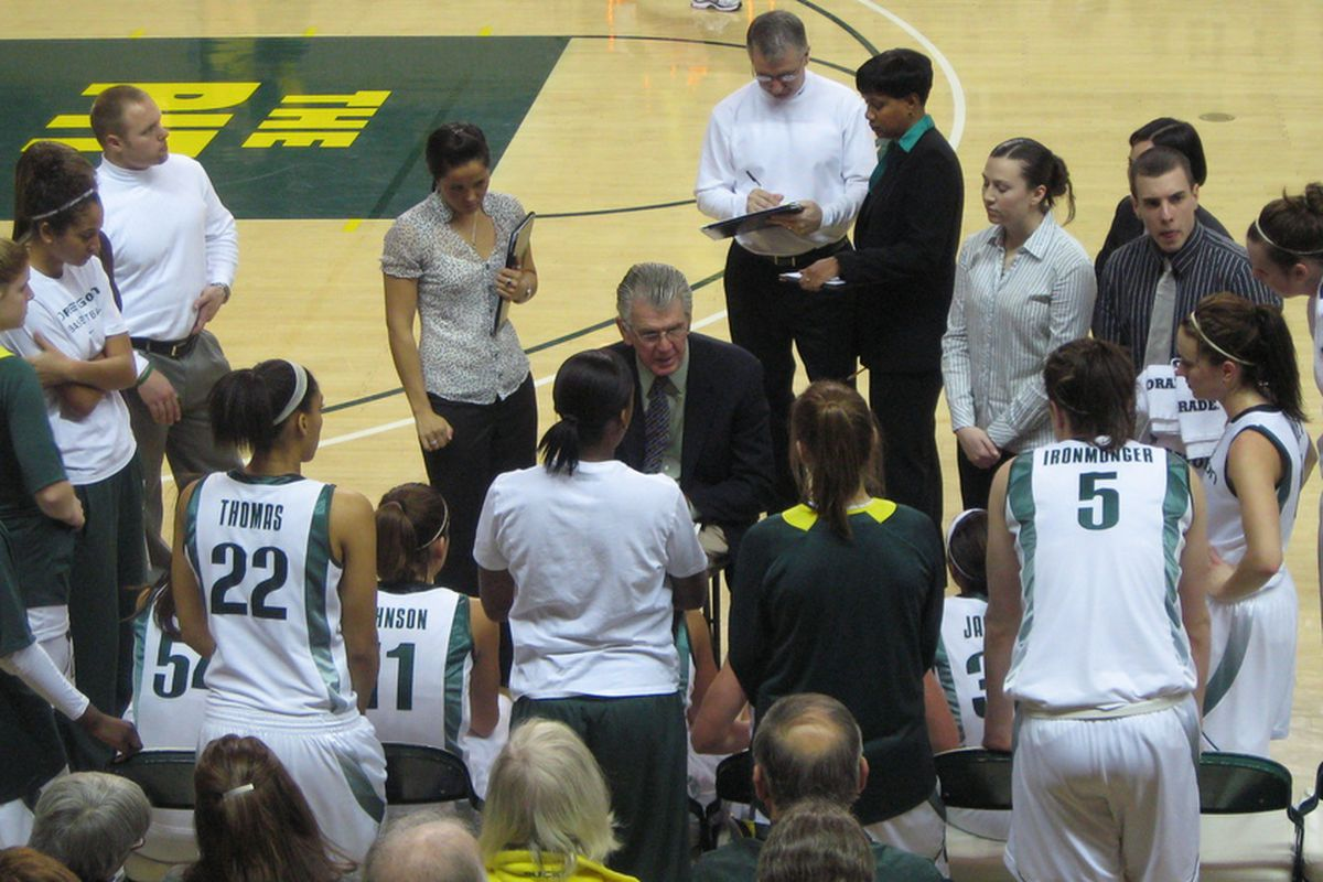 University of Oregon coach Paul Westhead speaks to his team during a timeout during an exciting 98-92 win over Washington State on Sunday.