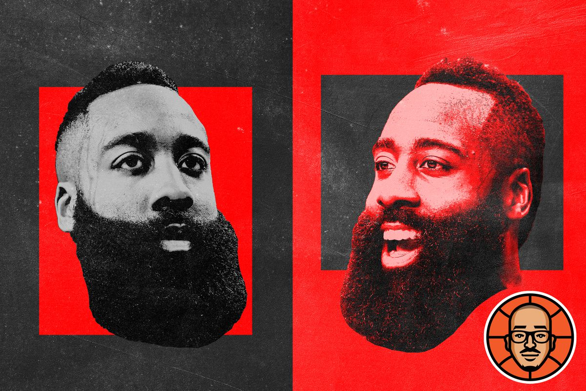 Two images of James Harden looking disappointed and happy