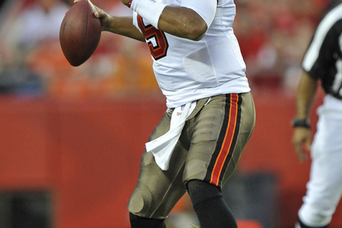 KANSAS CITY, MO - AUGUST 12:  Quarterback Josh Freeman #5 of the Tampa Bay Buccaneers was hurt by the NFL lockout