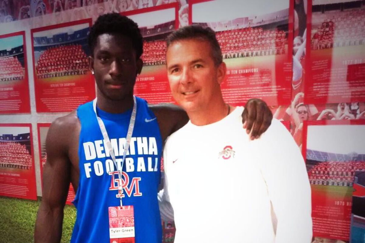 Tyler Green posted up with his future head coach Urban Meyer.