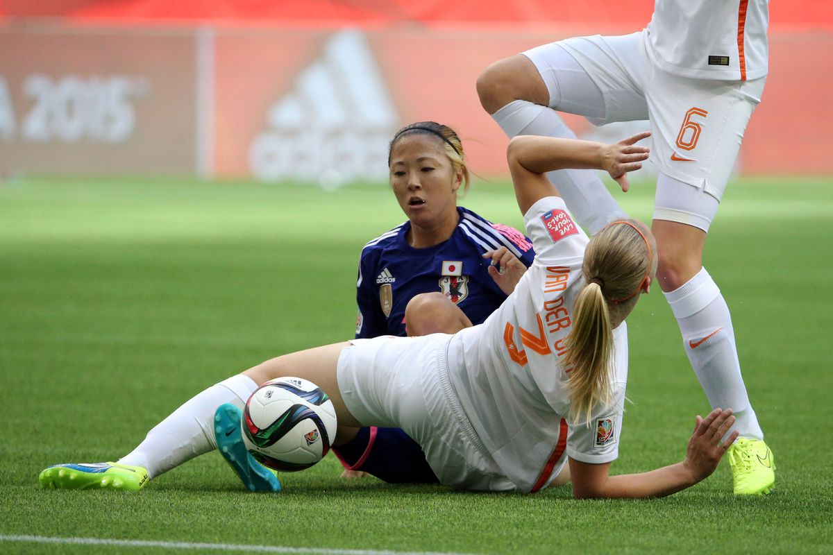 Japan forward Yuki Ogimi and Netherlands players Stefanie van der Gragt (3) and Anouk Dekker (6).
