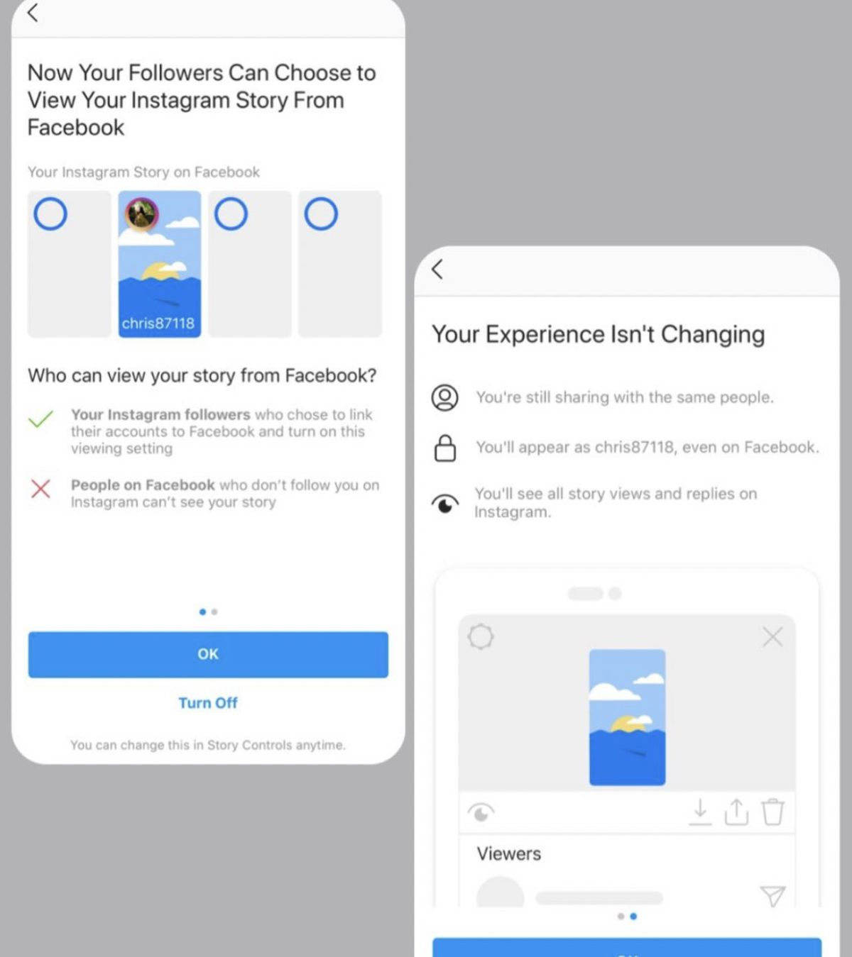 Instagram stories directly via Facebook