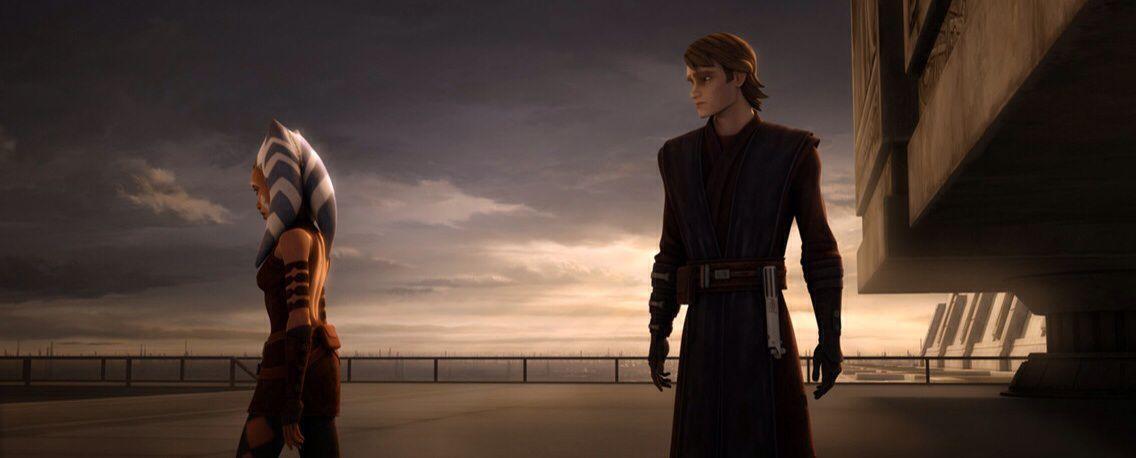Ahsoka walks away from Anakin in Star Wars: The Clone Wars