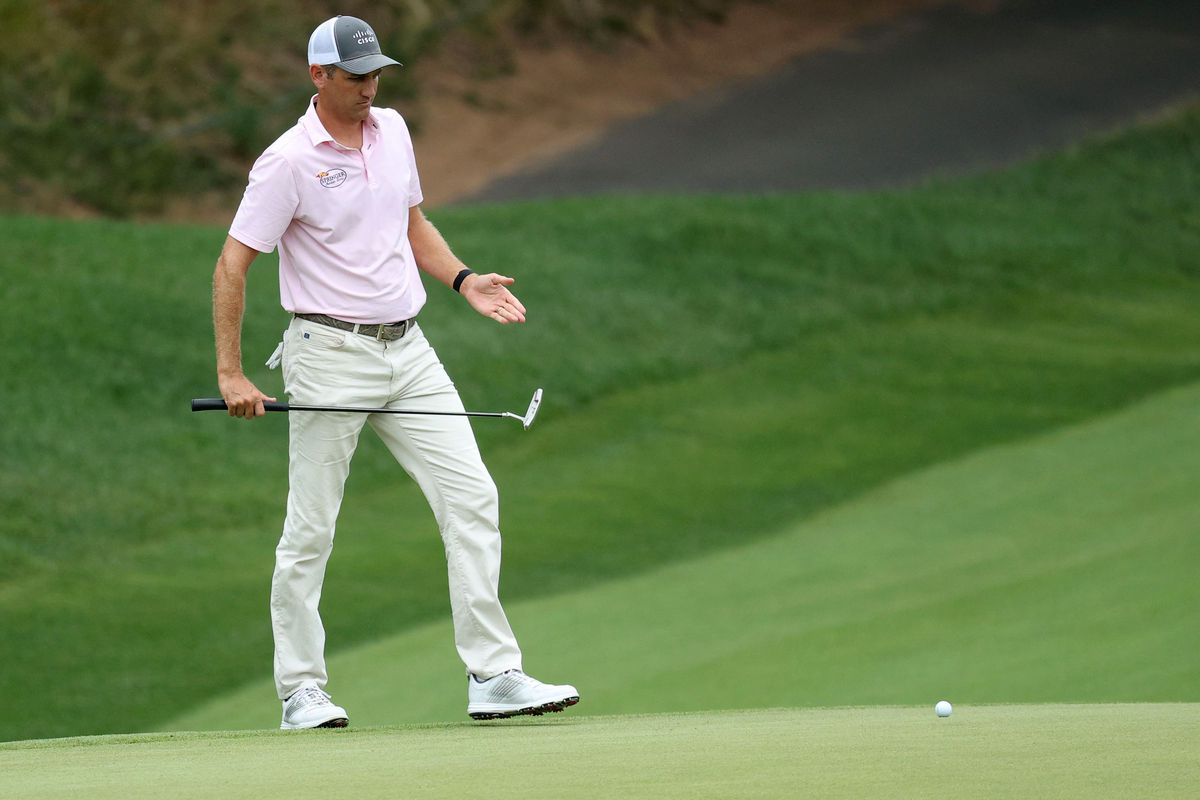 Brendon Todd of the United States lines up a putt on the 15th green during the third round of the Travelers Championship at TPC River Highlands on June 27, 2020 in Cromwell, Connecticut.