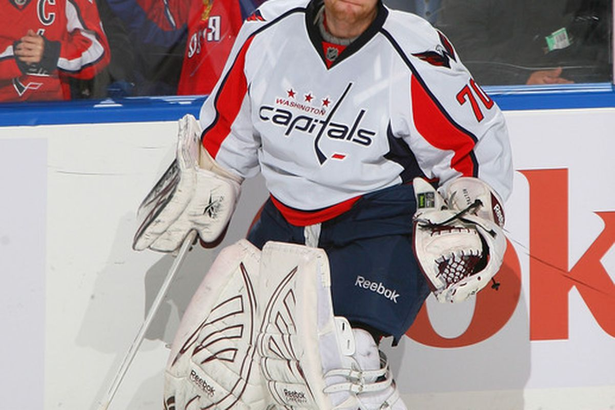 BUFFALO NY - NOVEMBER 13: Braden Holtby #70 of the Washington Capitals skates during a timeout against the Buffalo Sabres  at HSBC Arena on November 13 2010 in Buffalo New York.  (Photo by Rick Stewart/Getty Images)