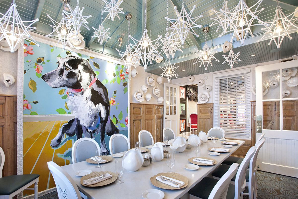 dining room at restaurant with dog themed decor