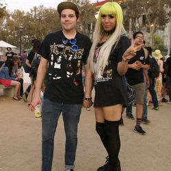 Soon-to-be newlyweds Cameron and Alvy Magdaleno repped Kittie and Marilyn Manson.