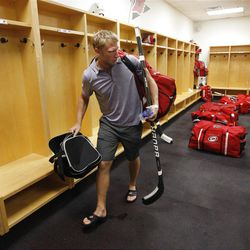 Carolina Hurricanes' Jordan Staal leaves the locker room after the NHL hockey team's informal workout at Raleigh Center Ice on Friday, Sept. 14, 2012, in Raleigh, N.C. Staal was taking his gear, which is normally stored in the lockers, with him as the players will not be allowed to use the facility in the event of an NHL lockout. (AP Photo/The News & Observer, Ethan Hyman) MANDATORY CREDIT