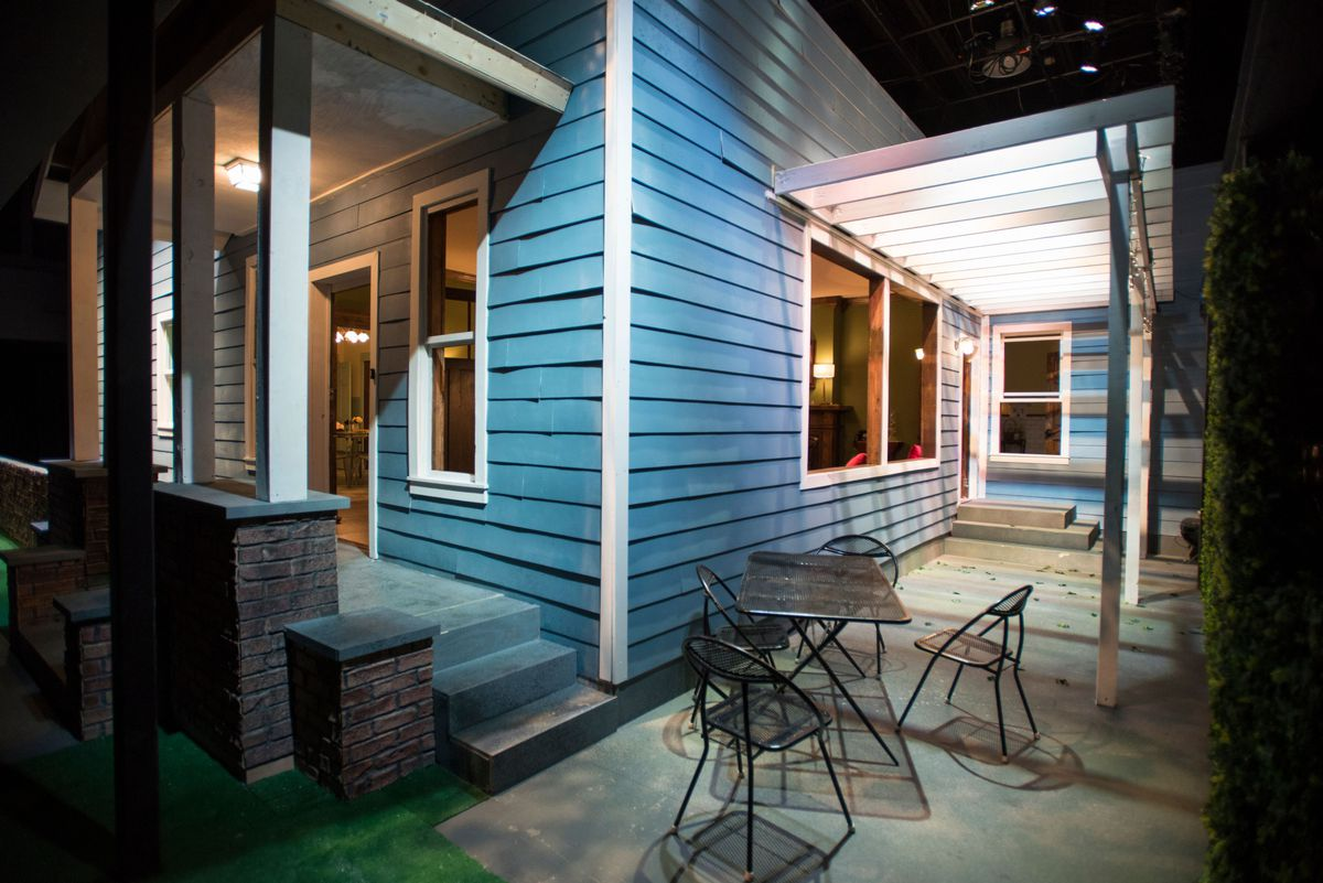 """The exterior of the """"house"""" featured in """"Southern Gothic"""" at Windy City Playhouse. The audience is free to roam about the play's interior and exterior settings. 