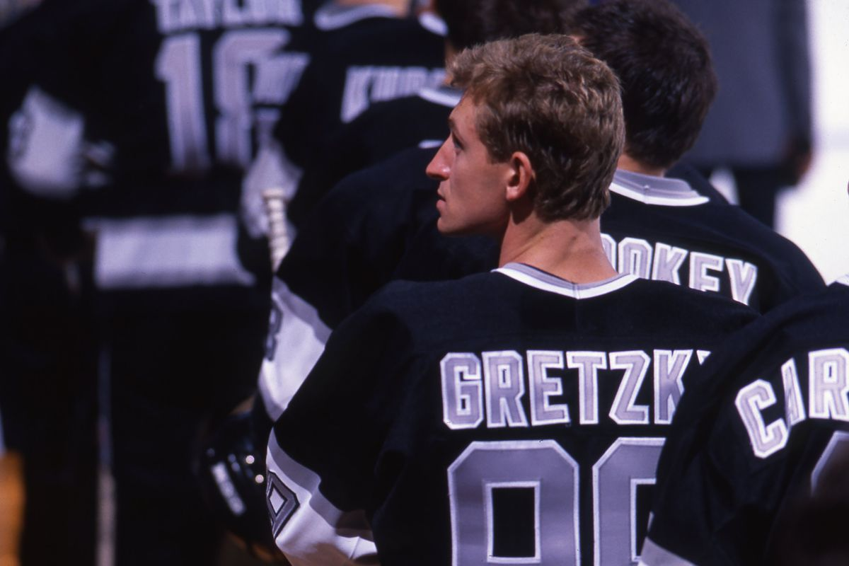 Wayne Gretzky #99 of the Los Angeles Kings at his first home pre-season game on September 28, 1988 at the Great Western Forum in Inglewood, California.