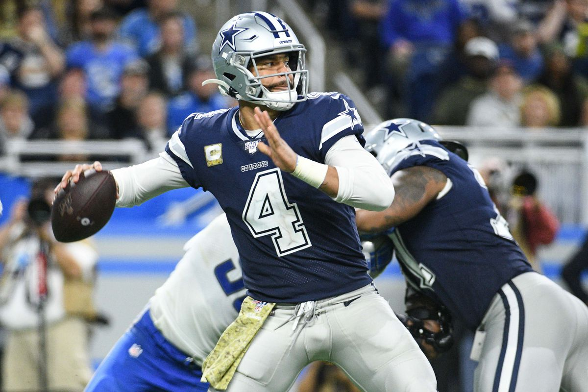 Dallas Cowboys quarterback Dak Prescott throws the ball during the second half against the Detroit Lions at Ford Field.