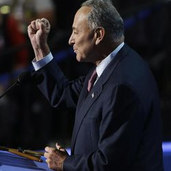 Sen. Chuck Schumer of New York speaks to delegates at the Democratic National Convention in Charlotte, N.C., on Wednesday, Sept. 5, 2012.