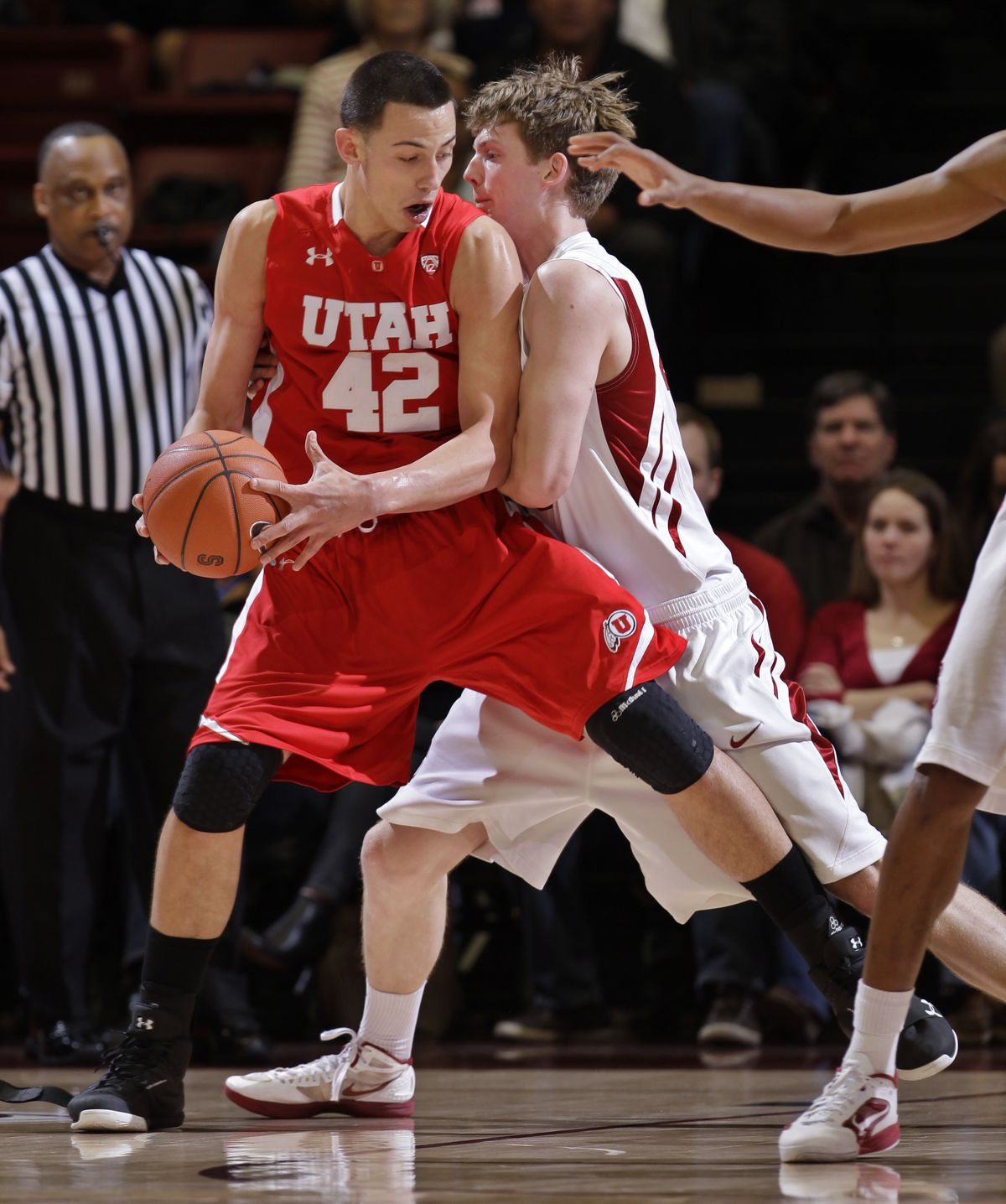 Stanford forward John Gage, right, guards Utah center Jason Washburn during game in Stanford, Calif., Thursday, Jan. 12, 2012. (AP Photo/Paul Sakuma)