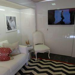 The bus's stylish lounge.
