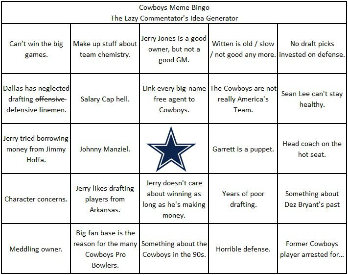Cowboys Meme Bingo Or The Lazy Dallas Cowboys Commentator