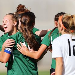 Olympus players celebrate a goal as they play Murray in the 5A girls soccer state semifinals at Rio Tinto Stadium in Sandy on Tuesday, Oct. 20, 2020. Olympus won 2-1 to advance to the championship game.
