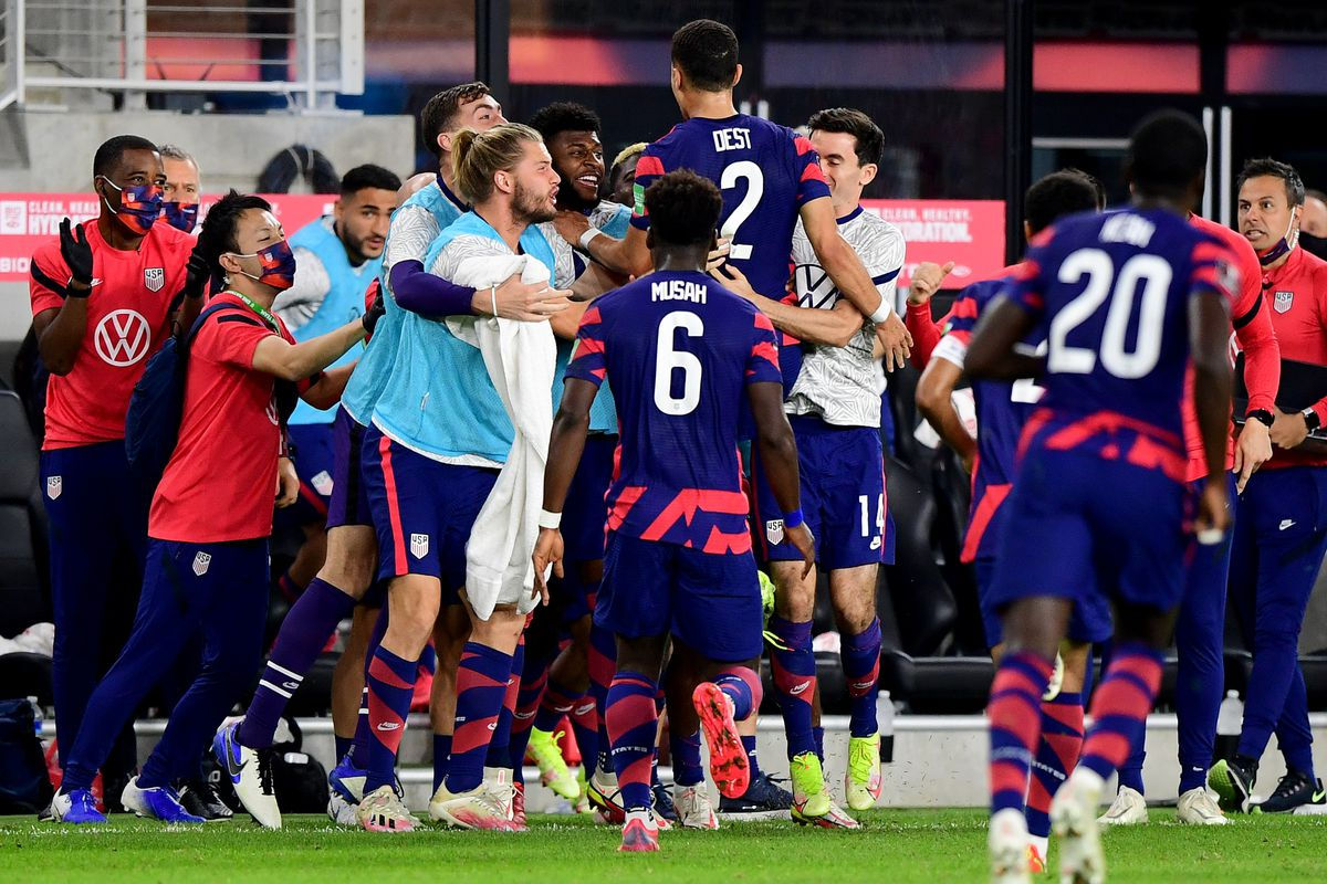 The United States celebrate a goal by Sergiño Dest #2 during the first half of a 2022 World Cup Qualifying match against Costa Rica at Lower.com Field on October 13, 2021 in Columbus, Ohio.