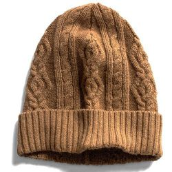 """<strong>Todd Snyder</strong> Camel Wool Cable Hat, <a href=""""http://www.toddsnyder.com/products/camel-wool-cable-hat"""">$69</a> (reg $125) at City Gym"""