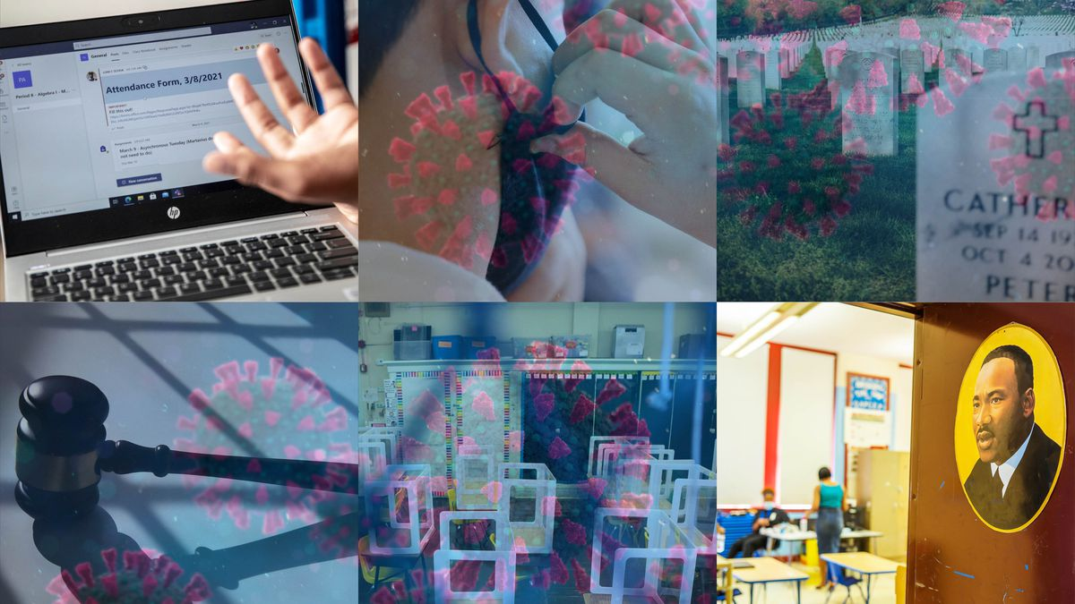 A collage of images of masking, virtual learning, COVID, classrooms and Critical Race Theory.