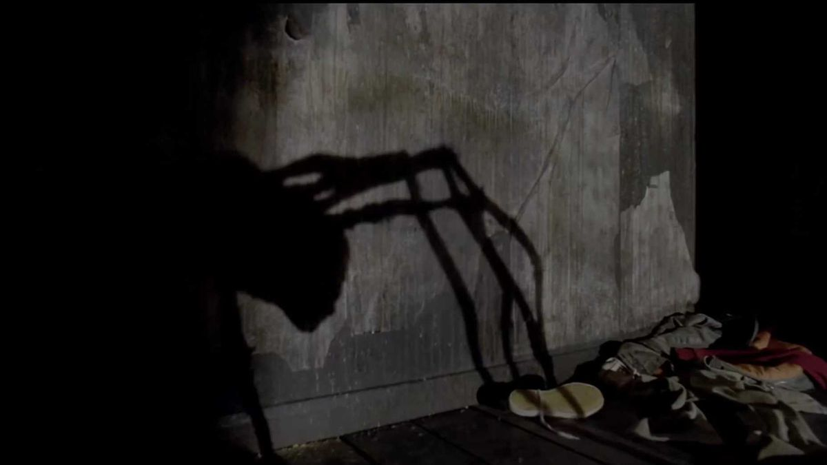 the shadow of a man-headed spider creeps across the wall
