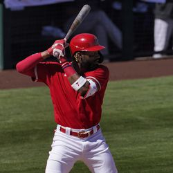 Los Angeles Angels' Jo Adell hits against the Colorado Rockies during the second inning of a spring training baseball game, Saturday, March 6, 2021, in Tempe, Ariz.