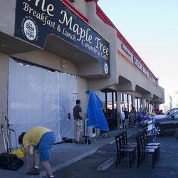 The producers of Restaurant: Impossible put up a covering after Eater Vegas' cameras arrived.