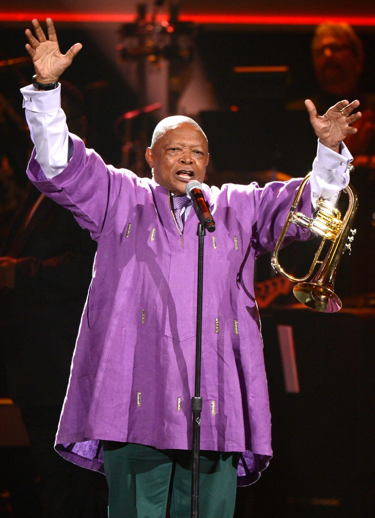 Musician Hugh Masekela performs onstage at the The 55th Annual Grammy Awards at Nokia Theatre in 2013 in Los Angeles.