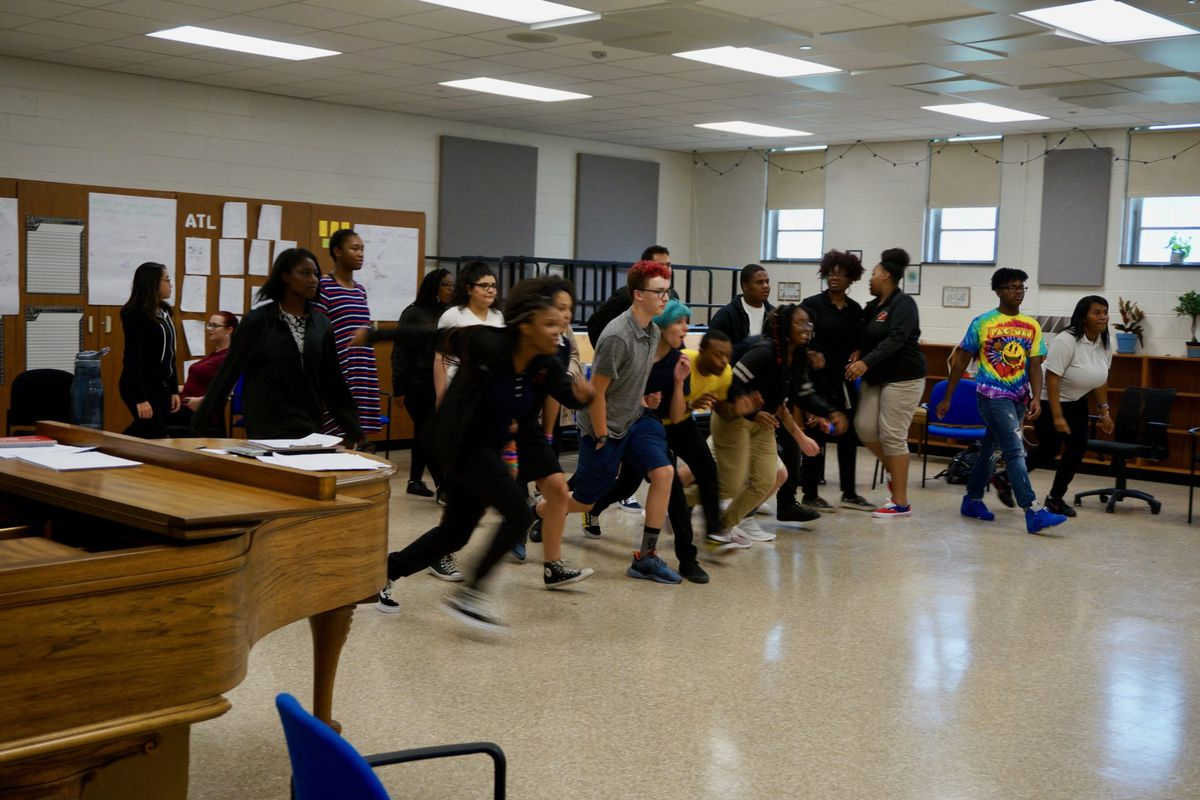 The Shortridge choir was focused on community building games Friday afternoon.