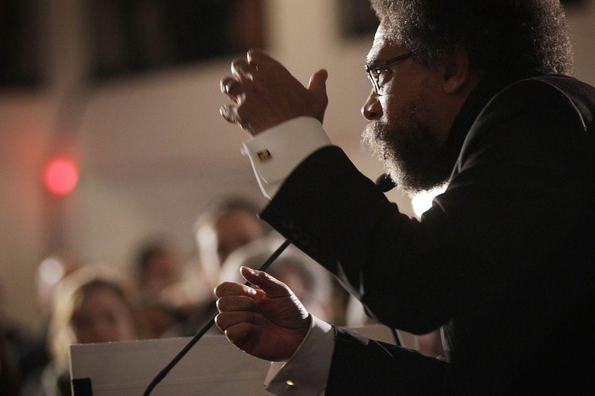Cornel West stumps for Bernie Sanders in Iowa.