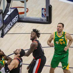 Utah Jazz forward Bojan Bogdanovic (44) shoots over Portland Trail Blazer forward Nassir Little (9) during the game at Vivint Smart Home Arena in Salt Lake City on Thursday, April 8, 2021.