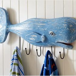 """<b>Moby Dick:</b> Nautical decor, emo sea captain paintings, and leviathan touches like this whale hook rack. Wes Anderson, eat your heart out. [<a href=""""http://www.potterybarnkids.com/products/whale-hook-rack/"""" rel=""""nofollow"""">Photo</a>]"""