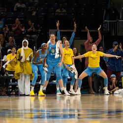 The Sky bench was hyping their teammates all night in their 105-76 playoff win over the Mercury